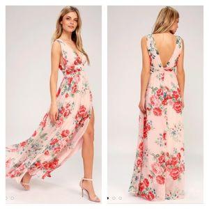 Lulus Garden Meandering Blush Floral Maxi Dress